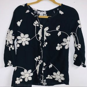 Flowy cotton embroidered blouse large